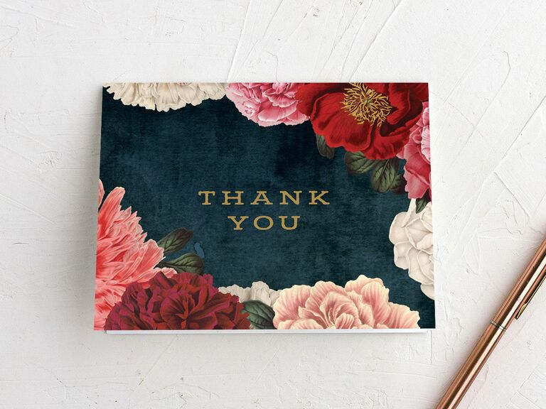Saturated floral on dark background thank-you card