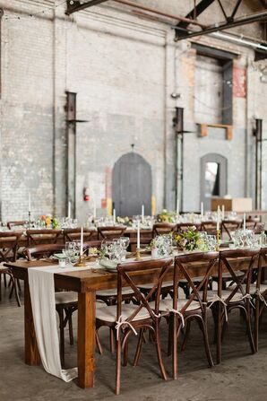 Rustic, Industrial Dining Tables with Cross-Back Chairs and Ivory Runners