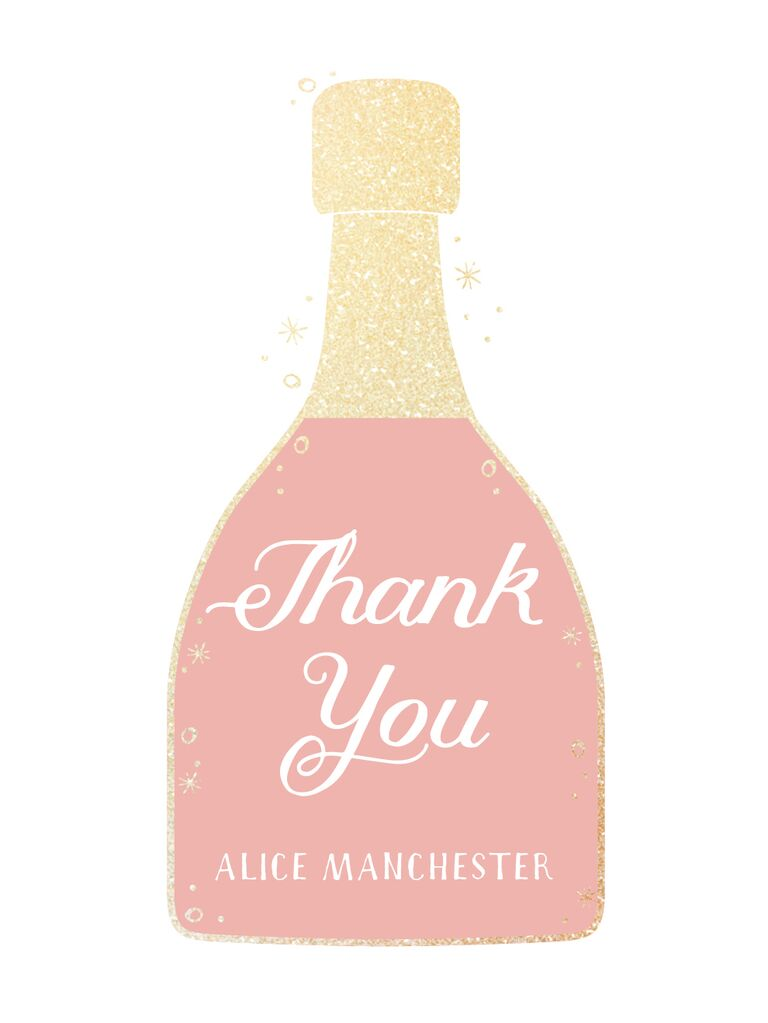 Champagne-bottle motif pink and gold bridal shower thank-you card