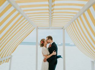 """Book designers Erin Fitzsimmons (32) and Ray Shappell (34) looked to their venue for design inspiration. """"Congress Hall was sophisticated and classy,"""