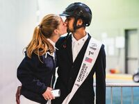 Nayel Nassar of Egypt kisses his girlfriend Jennifer Gates of USA after the Longines Grand Prix de New York, at the Longines Masters New York 2019, at NYCB Live, home of the Nassau Veteran's Memorial Coliseum on April 28, 2019 in Uniondale, New York. (Photo by Alexis Anice/ALeA/Getty Images)