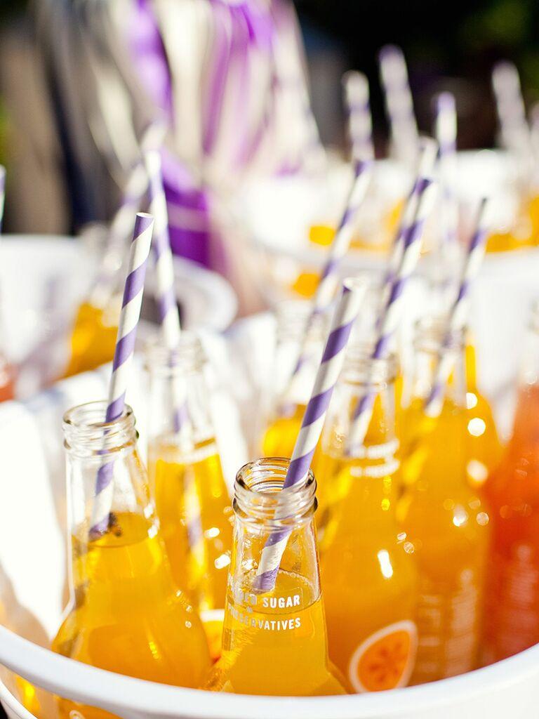 Wedding brunch idea, fizzy drinks with fun straws