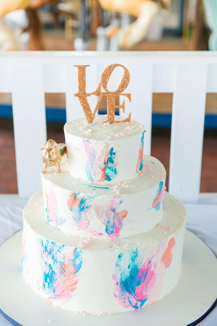 Colorful Three-Tier Wedding Cake