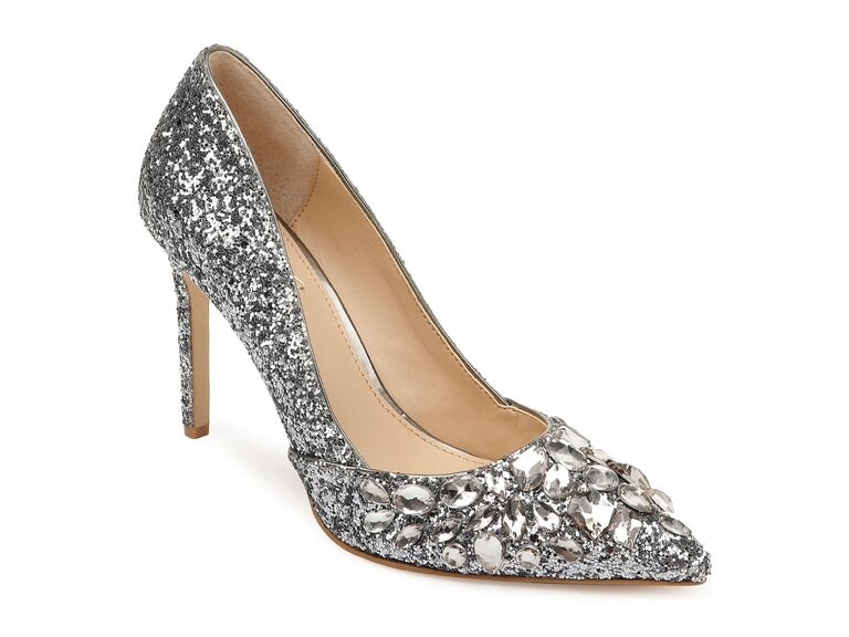 Silver crystal jeweled wedding shoes
