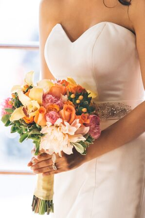Orchid, Rose and Peony Bouquet