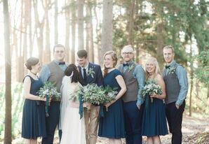 Navy and Tartan Plaid Wedding Party Theme