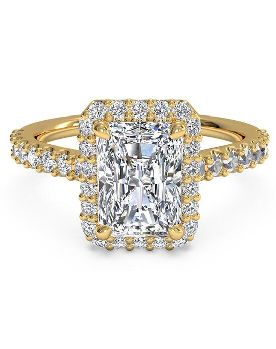Ritani French-Set Halo Diamond Band Engagement Ring - in 18kt Yellow Gold (0.45 CTW) for a Emerald Center Stone Engagement Ring photo
