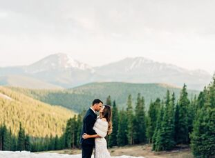 """Lindsay Uhl and John Aherne wanted to give their guests a """"touch of adventure,"""" so they got married at Colorado's Timber Ridge Lodge in Keystone. Scen"""