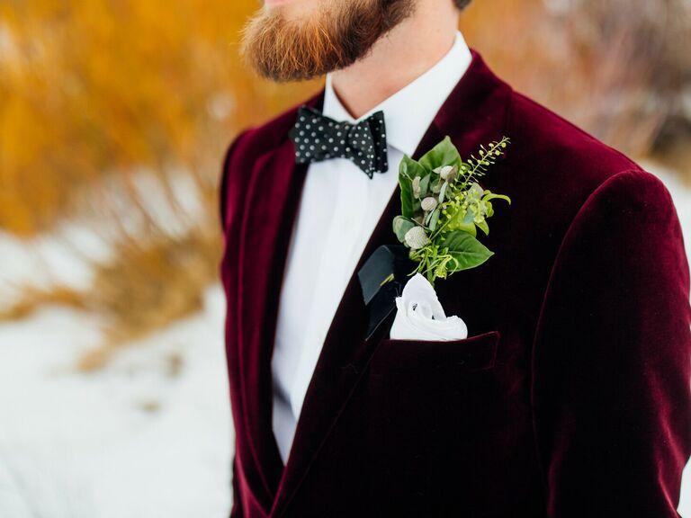 winter wedding ideas burgundy suit jacket
