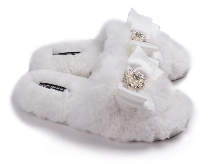 wolf and badger grey fur bride slippers with jeweled bow