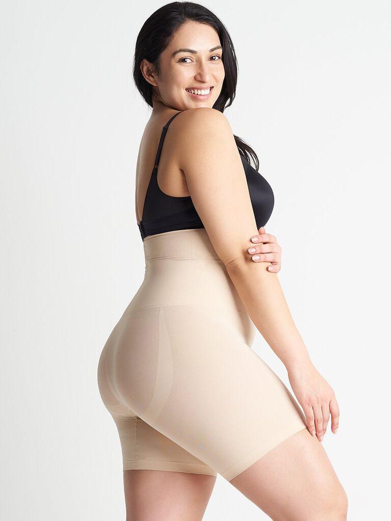 High waist shaping and lifting shapewear shorts for wedding