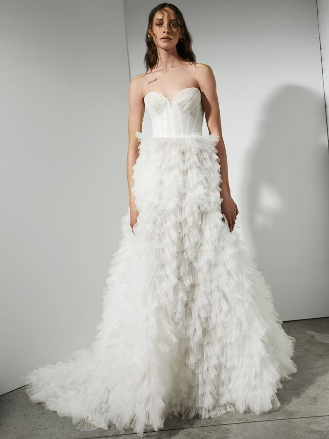 Rivini draped tulle ball gown