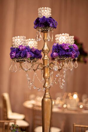Tall Candelabras with Purple Flowers