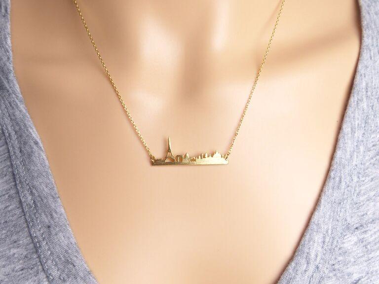 etsy gold paris city skyline necklace for paris themed bridal shower