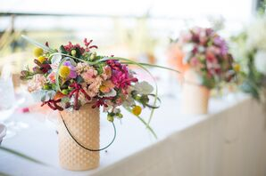 Colorful Head Table Orchid Arrangements