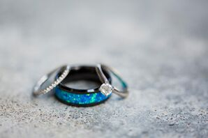 Blue Opal, Black Tungsten Groom's Wedding Ring