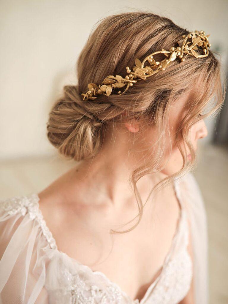 wedding hair pieces gold headband