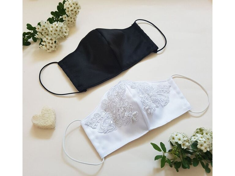 Bride and groom black and embroidered white wedding masks
