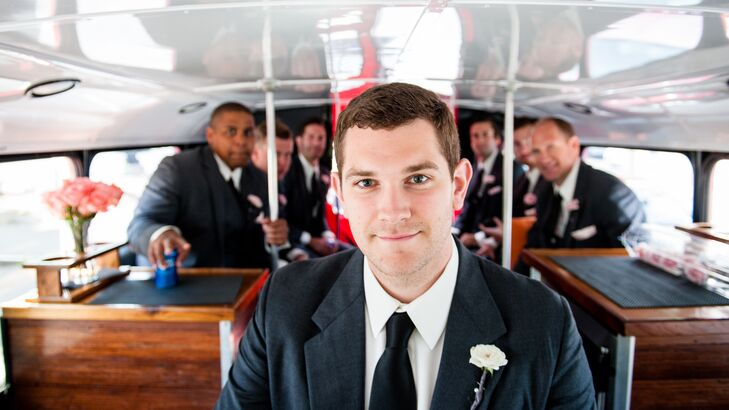 Throughout the day, the wedding party was shuttled back and forth between events on a vintage-inspired trolley.