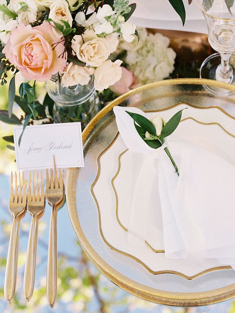 wedding place card gold