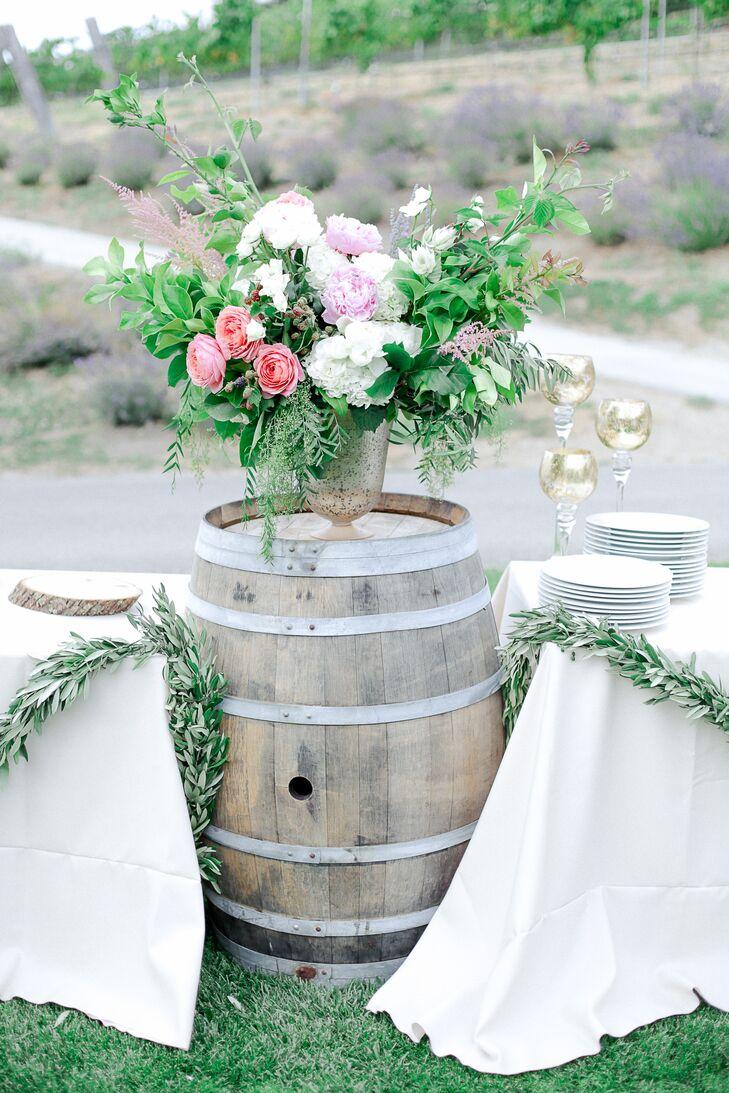 Wild Romantic Flower Arrangements on Barrel Pedestal