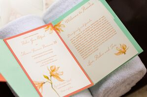 Mint and Orange Wedding Invitations