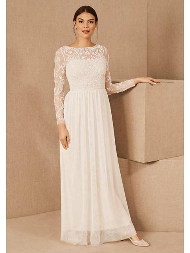 Simple wedding dress with lace bodice and sleeves and A-line skirt