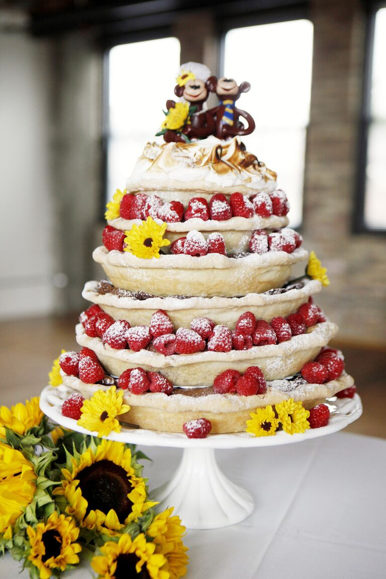 Stacked pie wedding cake with fresh berries