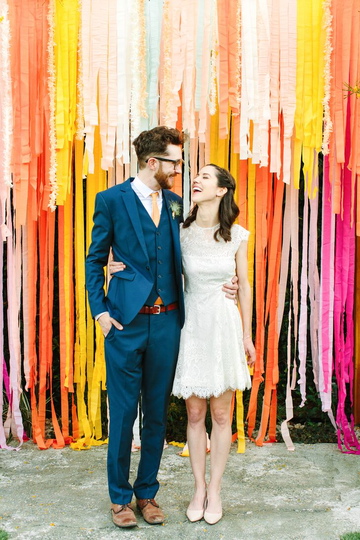 A decommissioned church chock-full of light and existing furniture was an obvious, albeit unconventional choice for newlyweds Alex Ebel (30 and a writ