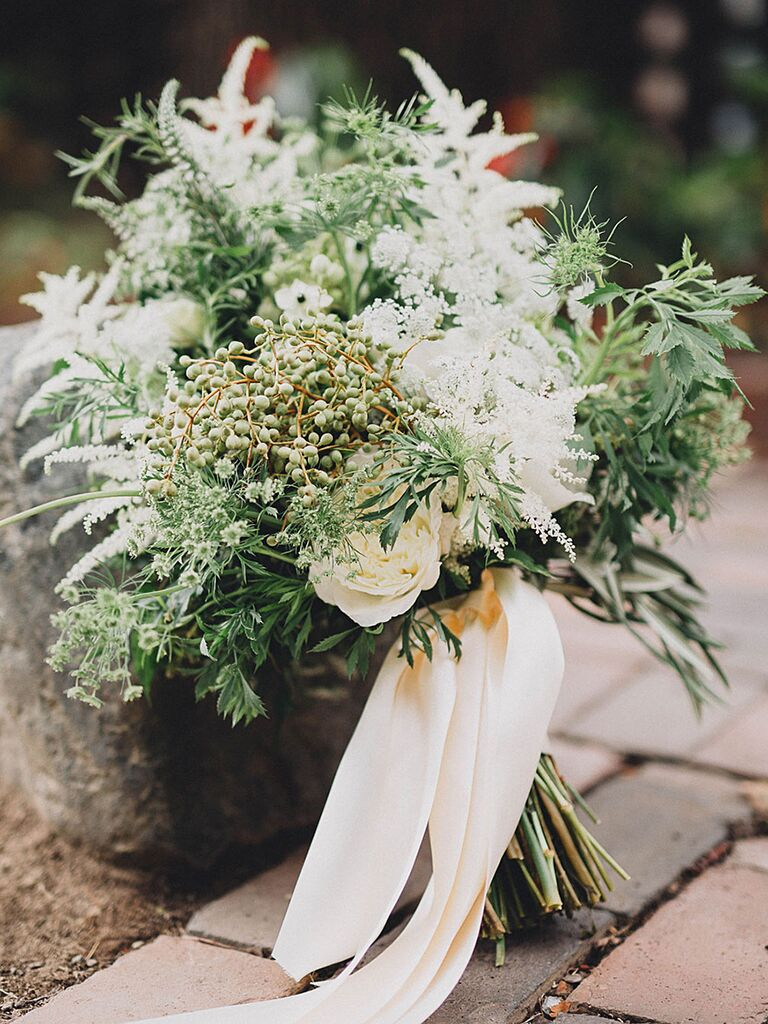 A bridal bouquet with garden roses and snapdragons