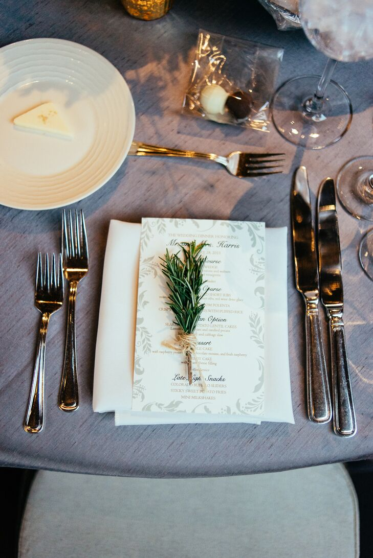 """""""The theme throughout our stationery was the trees,"""" Meagan says. """"We did ivory stationery with green and taupe ink. I loved the spruce trees and the way it played into the reception location, and that it was also a nod to Colorado. Most of our guests were traveling from out of state, so I wanted them to really get a feel for Colorado, and the ranch lent itself perfectly to that."""""""