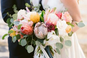 Bouquet With Eucalyptus, Roses and Protea