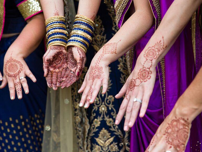 Matching bridal party henna tattoos