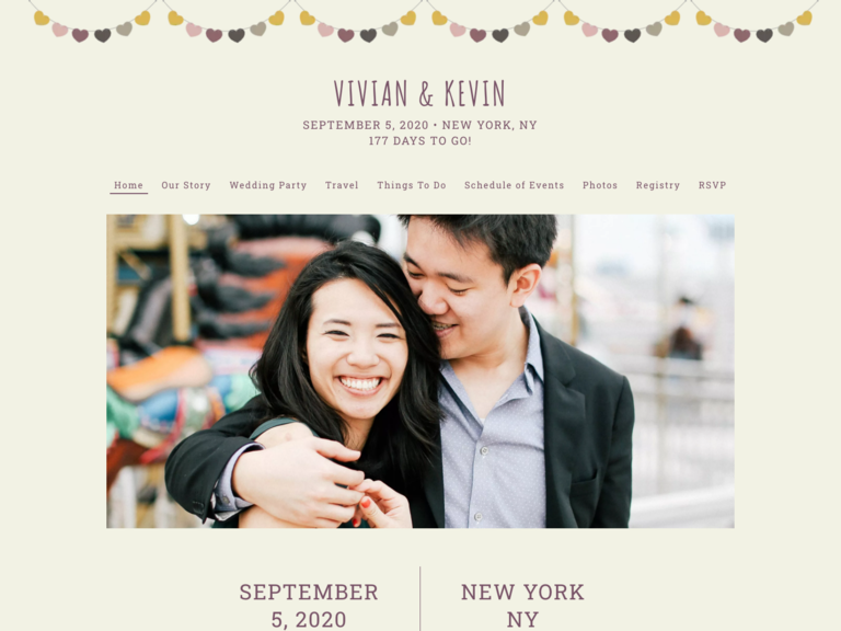 Image of couple's wedding website with picture of the couple and their wedding details
