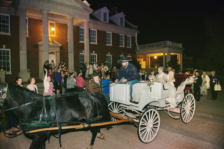 """At the end of the night, Chelsea and Jeffrey's guests held lanterns (also their wedding favors) as they made their horse-and-carriage exit. """"We cannot count how many people told us that our wedding was like a fairy tale,"""" Chelsea says. """"We couldn't have dreamed up a more beautiful wedding."""""""