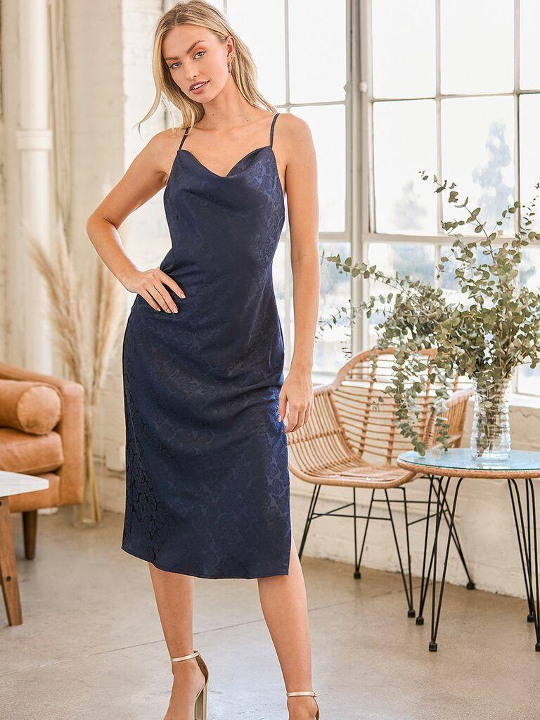 Dark navy blue slip dress with cowl neckline for fall