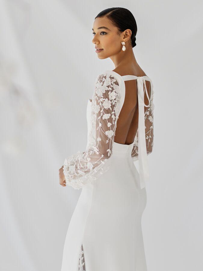 Alexandra Grecco silk crepe wedding dress with sheer sleeves