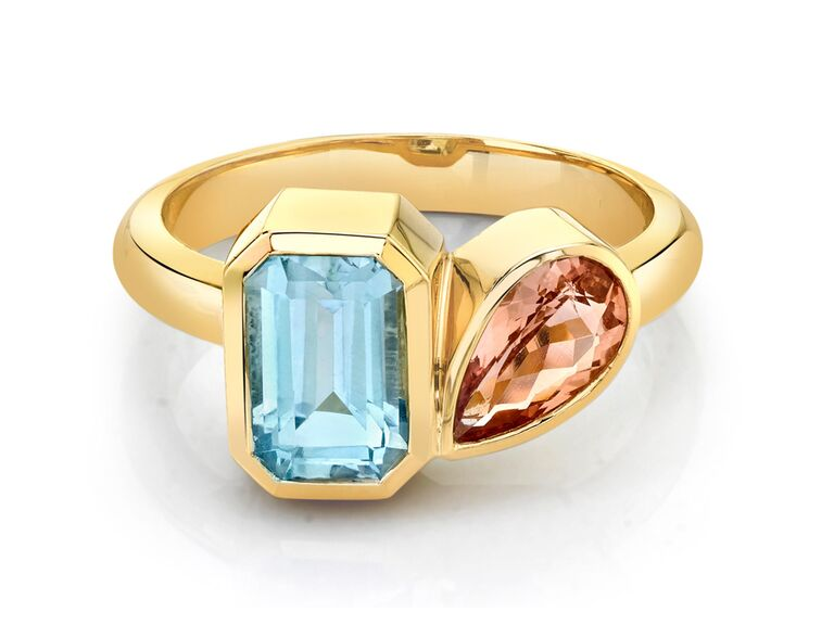 marrow fines emerald cut aquamarine engagement ring with pear shaped topaz and gold band