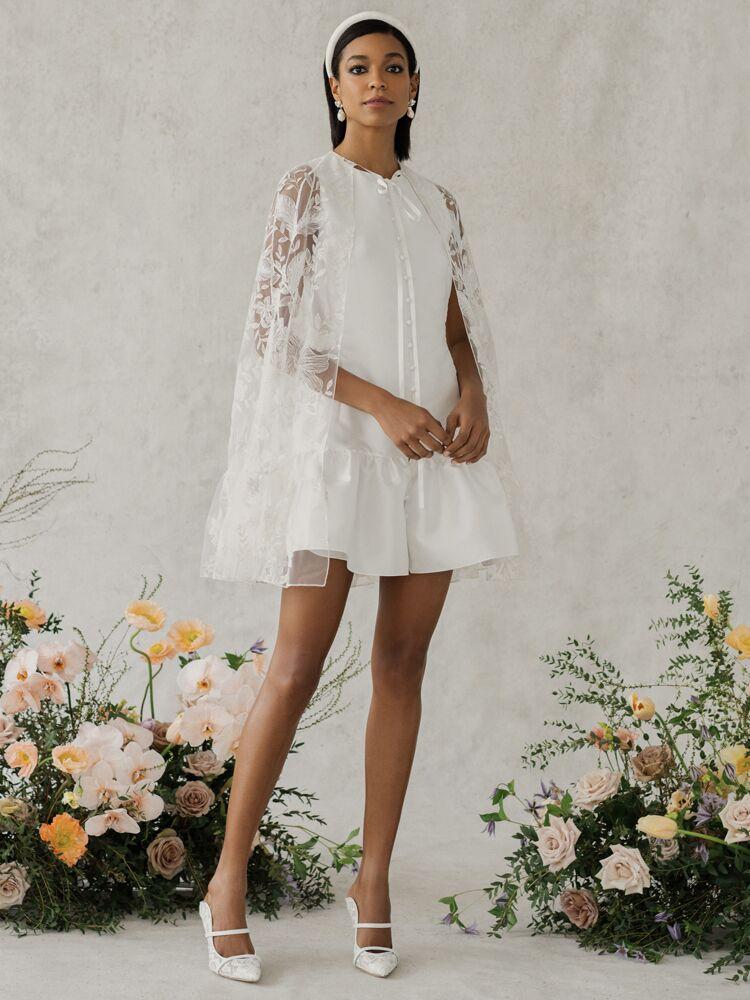 Alexandra Grecco Poppy floral lace cape