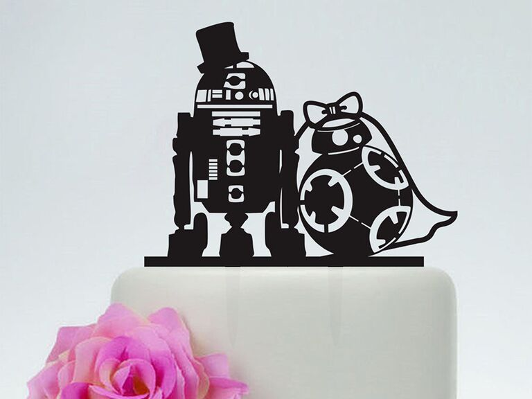 Black acrylic topper with R2D2 and BB8 in wedding attire