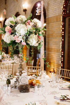 Tall Hydrangea and Rose Centerpieces on Vintage Pedestal