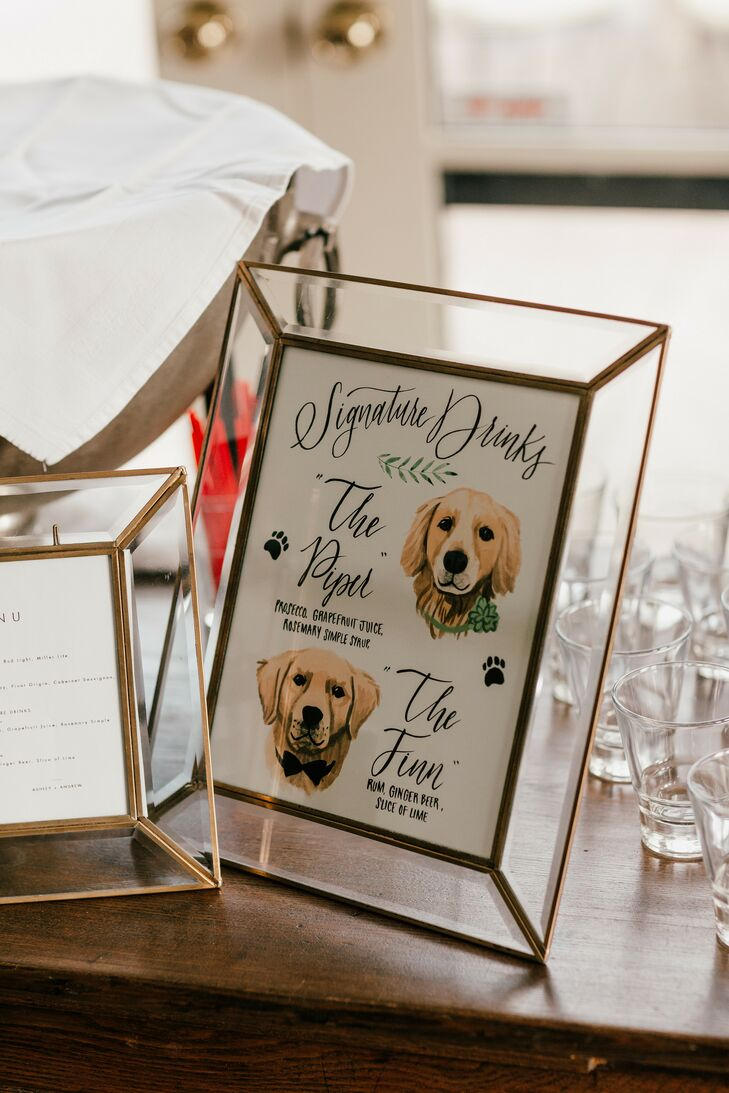 Pet Illustrated Bar Menu for Wedding in Western Michigan