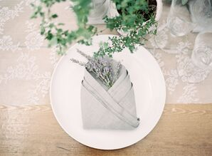 Simple Linen Napkins with Lavender Accents