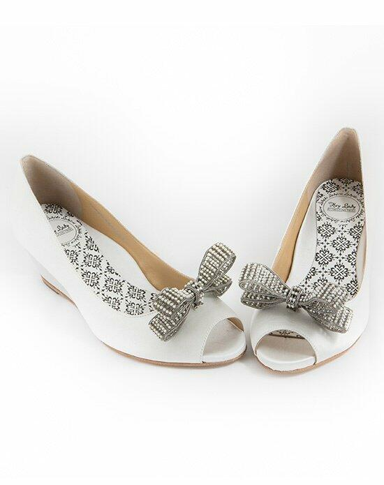 Hey Lady Shoes Peeptoe Wedgie w/little pearl bow Wedding Shoes photo