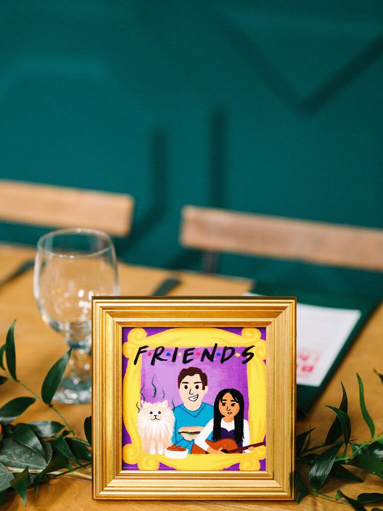 friends themed wedding illustrated centerpieces