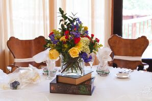 Colorful Flower Centerpiece on Books
