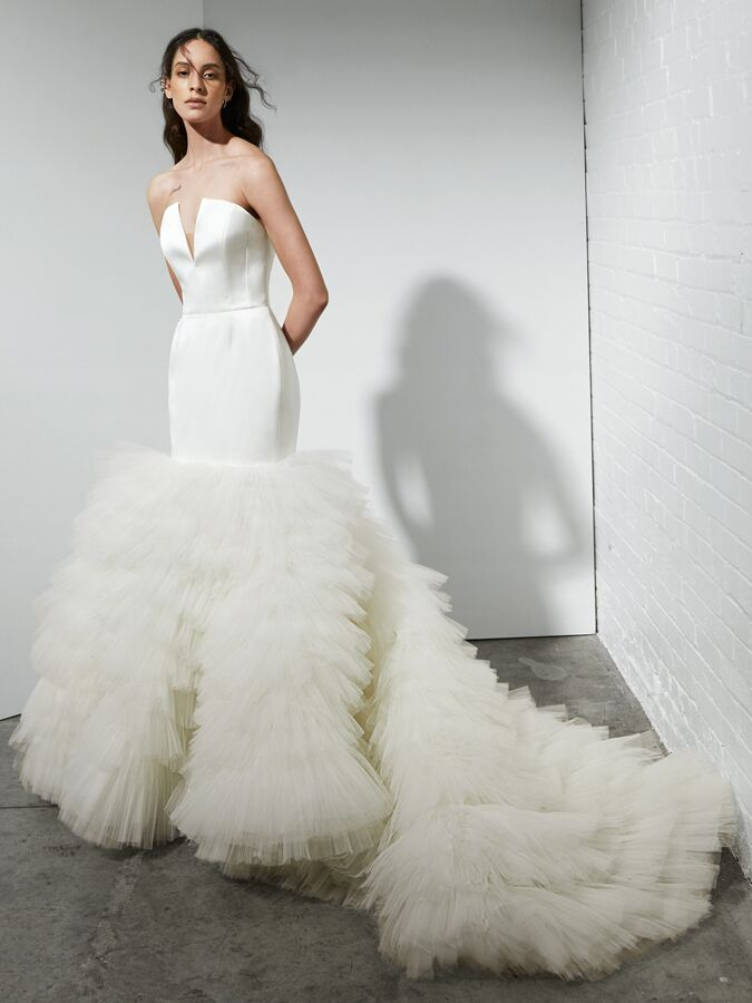 Rivini fit-and-flare wedding dress with frothy tiered tulle skirt