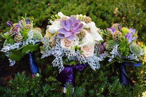 Natural Succulent Bouquet with Purple Satin Wrap
