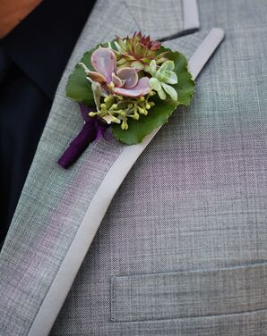 Green and Purple Succulent Boutonniere