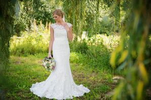 White Lace Allure Wedding Dress with Cap Sleeves
